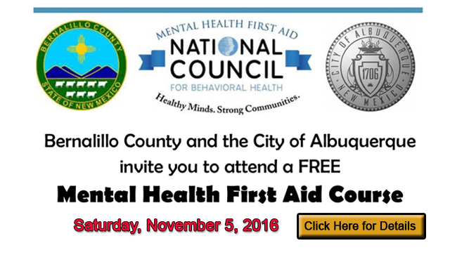 albuquerque bernco mental health first aid FREE course