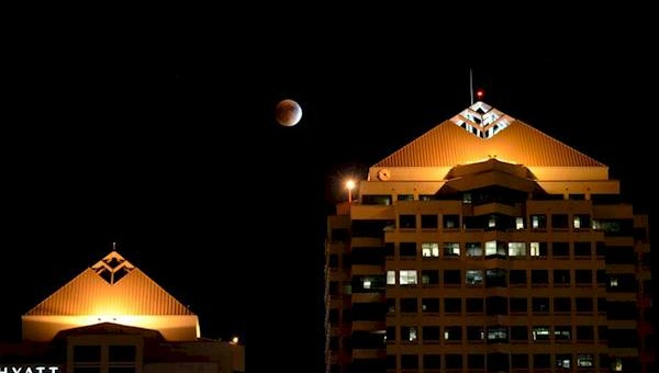 Spectacular View of the Moon From Downtown Albuquerque